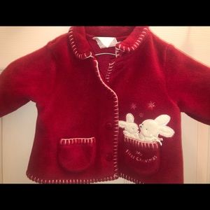 Red fleece newborn first Christmas coat